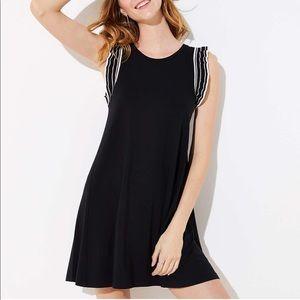 NWT LOFT Striped ruffle swing dress size M